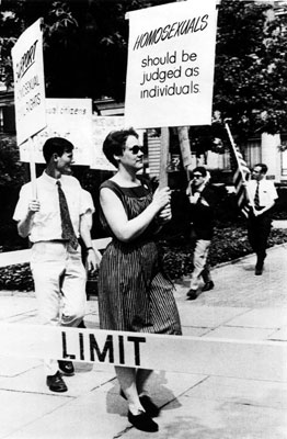 The late Barbara Gittings at a gay rights demonstration in Philadelphia, July 4, 1965.