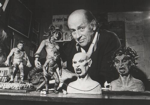 Harryhausen with creature models from Clash of the Titans