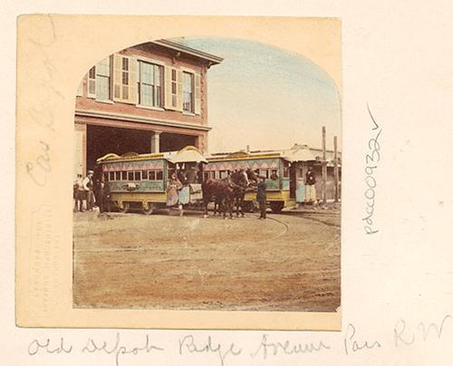 Horse-drawn streetcar, Ridge Avenue depot