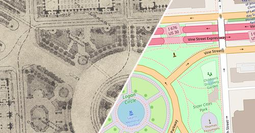 1918 plans for Logan Square and a modern-day map of the site