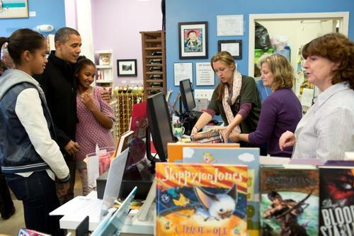 The Obamas at a bookstore.