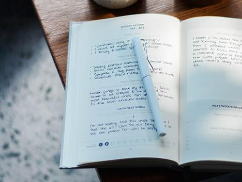 A journal with notes about how someone feels in it.