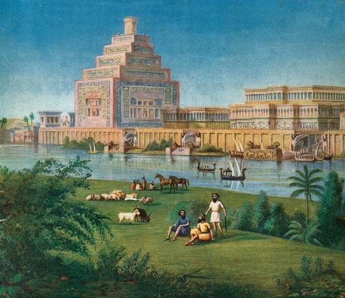 "Restoration of palace at Nineveh (detail). ""Majestic Palaces of Ancient Assyria's Great Capital"" by Sir Austen Henry Layard"