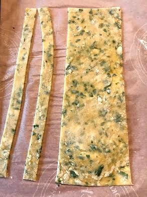 Strips cut from the rolled out dough