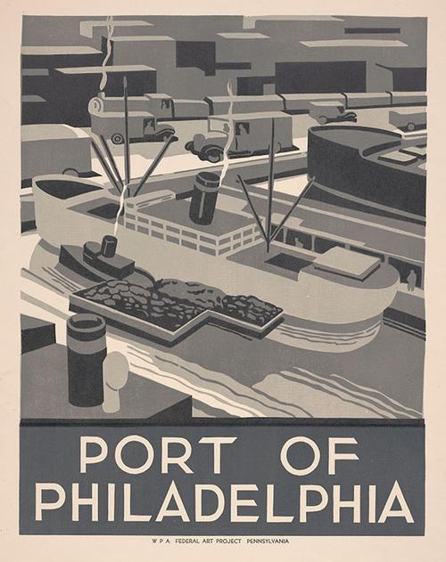 This engaging ca. 1936 poster, created by Robert Muchley for the WPA Federal Art Project Pennsylvania, depicts the Port of Philadelphia in a simplistic style, as a bustling urban port.