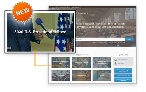 Free Library cardholders now have access to a new digital resource devoted exclusively to the 2020 U.S. presidential race through Access World News.