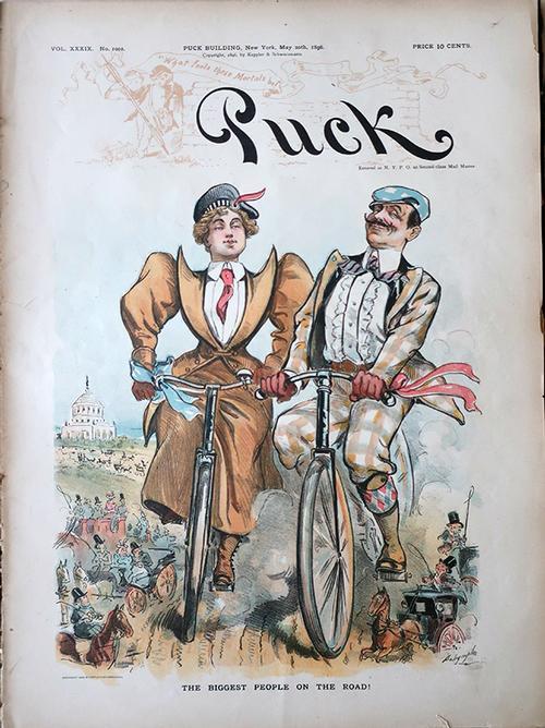 """The biggest people on the road!"" <i>Puck</i> magazine cover from 1896, the height of the American bicycle craze."