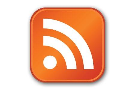 This is the standard RSS icon you will find on a website, which links to its RSS feed.