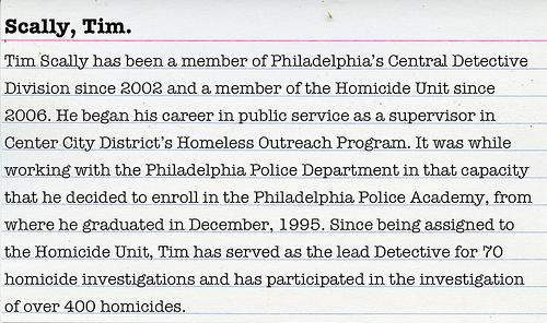 Talk crime with Philadelpha Police Department Homicide Detective Tim Scally.