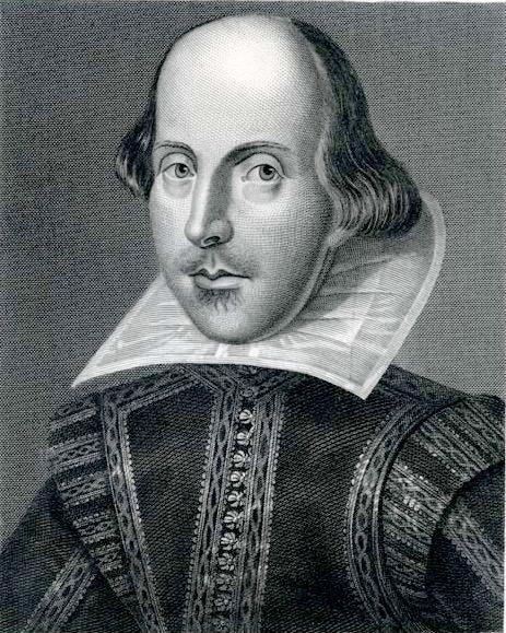 William Shakespeare: Copper engraving by Martin Droeshout from the title page of the First Folio