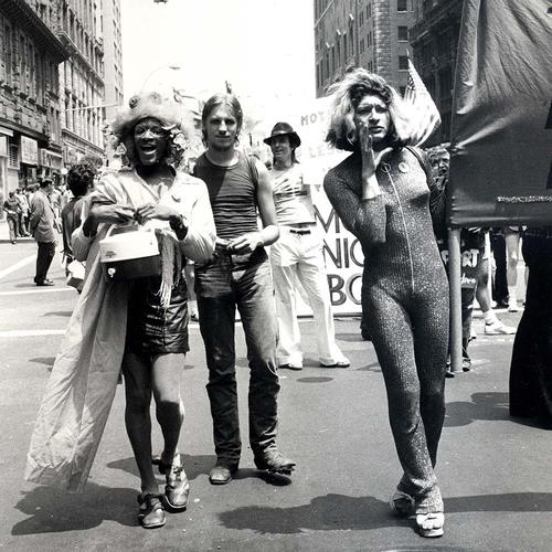 Marsha P. Johnson (left) and Sylvia Rivera march in New York City in 1973, three years after the first Pride March.