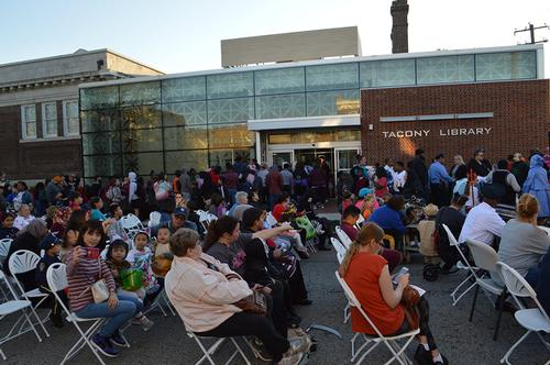 Community members enjoying the Tacony Halloween Celebration in October 2019.
