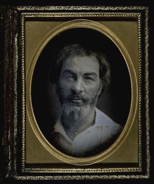 Daguerreotype portrait of a young Walt Whitman.