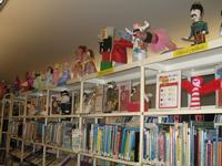 Nutcracker dolls line the shelves in Parkway Central Children's Department.