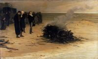 Louis Édouard Fournier, The Cremation of Percy Bysshe Shelley, oil on canvas, Liverpool, Walker Art Gallery. In this reimagining, Mary Shelley is depicted kneeling at the far left, Trelawney and Hunt stand together, and Byron gazes off into the distance.