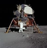 The Lunar Lander, which brought Aldrin and Neil Armstrong from <i>Apollo 11</i> to the surface of the Moon.