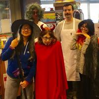 Abbe with Fumo Family Library staff on Halloween