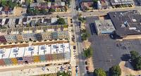 Aerial shot of West Village development and surrounding buildings in West Philadelphia neighborhood.