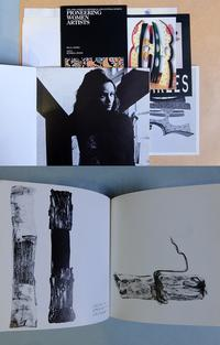 Top: Selections from the artist files of Ida Jones, Barbara Chase-Riboud, and Charles Searles. Bottom: Spread from catalog: