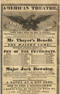 Playbill for the American Theatre, Walnut Street from March 12, 1835