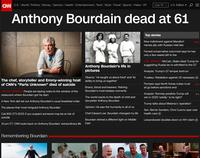 CNN's website mourns the death of Anthony Bourdain, Friday, June 8, 2018