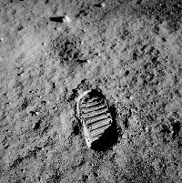 Aldrin's bootprint on the surface of the Moon.
