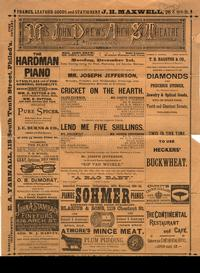 Playbill for the Arch Street Theatre from December 1, 1884