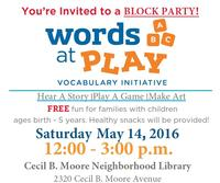 Join Words at Play on May 14th for a Block Party!