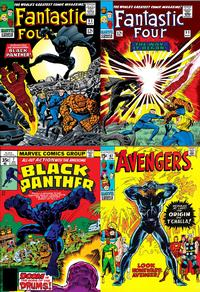 Black Panther comics collage: 1st appearance of Black Panther, <i>Fantastic Four</i> issues 52 and 53 by Jack Kirby and Stan Lee (1966); <i>Black Panther</i> #7 by Jack Kirby (1978); <i>The Avengers</i> #87 by Roy Thomas and Sal Buscema (1971)