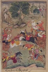 Karna Slays the Kaikeya Prince Vishoka, ca. 1598–99, opaque watercolor, ink, and gold on paper, the Free Library of Philadelphia, Rare Book Department, John Frederick Lewis Collection