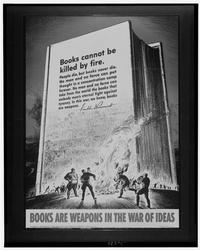Poster showing Nazis burning books, with quotation by Franklin D. Roosevelt,