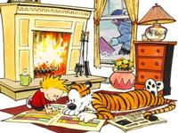 Read comics together with a friend like Calvin and Hobbes!