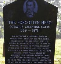 Octavius V. Catto's remains and gravestone at Eden Cemetery in Collingdale, PA