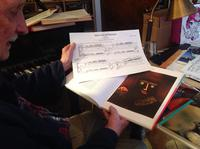 """George Crumb with his completed score for """"Black Prince"""" (Paul Klee) (2015)"""
