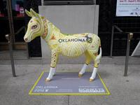 Artist Lynnette Shelly's Oklahoma-themed Donkey in front of Parkway Central Library