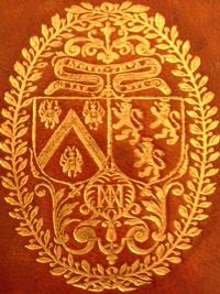 Upper Cover displaying the gilt arms of  de Thou and his wife, Marie, including their interlaced initials.