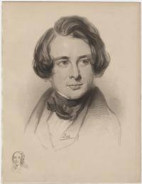 Portrait engraving of Charles Dickens by Edward Stodard, after a drawing by S. Laurence with a small portrait of Fanny Dickens, 1836.