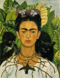Self-Portrait with Thorn Necklace and Hummingbird (Autorretrato con collar de espinas y colibrí), Frida Kahlo, 1940, oil on canvas, 24 5/8 x 18 7/8 inches