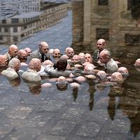 Politicians Discussing Global Warming, a sculpture by Isaac Cordal