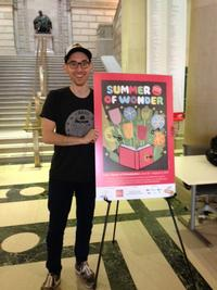 Greg Pizzoli with his original artwork in Parkway Central Library