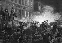 A depiction of one of the events of the Haymarket affair, published in <i>Harper's Weekly</i> in May 1886.