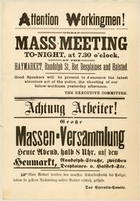 A protest flier from the Haymarket affair, 1886.