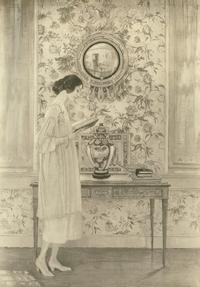 Carolyn Haywood posed for this painting by Violet Oakley, which currently hangs in the Chestnut Hill branch of the Free Library