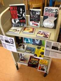 Some of the Free Library's collection highlighting women in music.