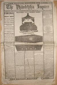 The front page of the Philadelphia Inquirer on April 20, 1864, highlighting President Abraham Lincoln's funeral