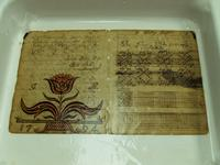 A calcium phytate bath arrests gall ink corrosion in the John Philip Meyer Weaving Book.