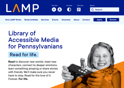 Meet LAMP: Library of Accessible Media for Pennsylvanians, formerly titled Library for Blind and Physically Handicapped.