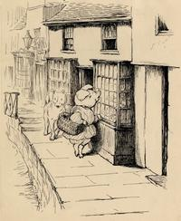 Drawing for illustration in the American edition of <i>The Tale of Little Pig Robinson.</i> [1930?].