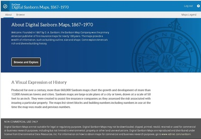 The landing page for the updated ProQuest Sanborn Database.