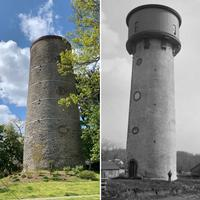 The water tower that once supplied water to Chestnut Hill residents. Left photo: present day, taken by author; right photo from 1896, courtesy of PhillyHistory.org.